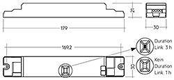 Hinweis: Lieferung Betriebsgerät mit Duration Link in 3 Stunden-Position. Für Betriebsdauer von einer Stunde Duration Link entfernen. Duration Link für Betriebsdauer vor Akku - und Netzanschluss einstellen.