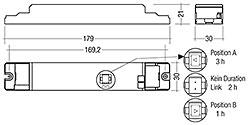Lieferung mit Duration Link in 3 Stunden-Position. Duration Link vor Akku - und Netzanschluss einstellen. Das EM converterLED PRO 134 NiCd wird ohne Duration Link geliefert. Die Bemessungsbetriebsdauer beträgt 3 Stunden und kann nicht geändert werden.