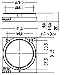 Mit Gehäuse (tc/tp Position wie ohne Gehäsue) – Maße in mm