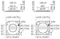 Dimensions in mm / inch