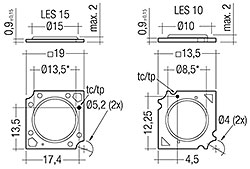 Dimensions in mm, *optical LES
