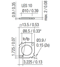 Dimensions in mm / inch, *optical LES