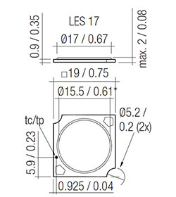 Dimensions in mm / inch *optical LES